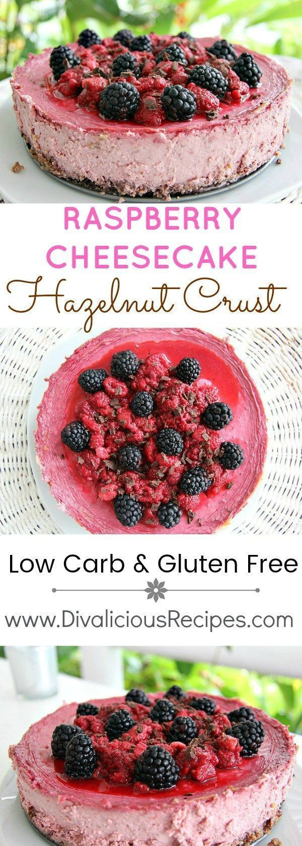 Raspberry Cheesecake hazelnut crust - low carb and gluten free. Recipe - http://divaliciousrecipes.com/2016/07/08/raspberry-cheesecake-hazelnut-crust/