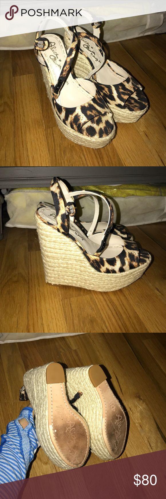 Alice + Olivia leopard wedges Gorgeous summer wedges! Worn once. Alice + Olivia Shoes Wedges