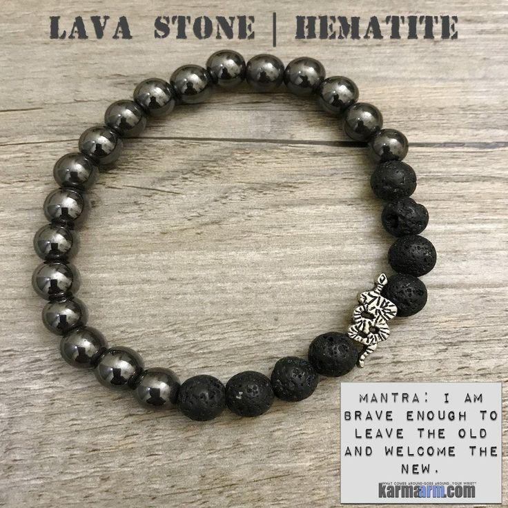 Bracelet | Mens Womens | beaded yoga mala charm. karma arm stacks. lava stone black hematite snake.