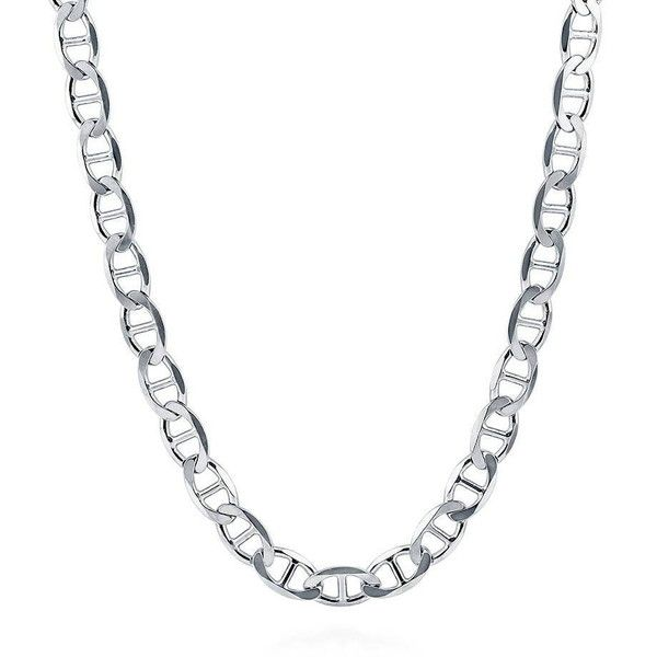 BERRICLE Italian Sterling Silver Flat Marina Chain Necklace 6.5mm ($55) ❤ liked on Polyvore featuring jewelry, necklaces, chain necklace, women's accessories, chunky jewellery, sterling silver jewellery, chunky chain necklaces, chunk jewelry and chain jewelry