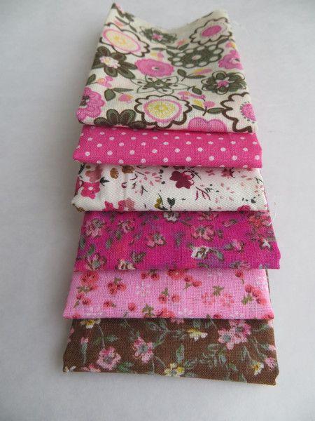 Stoffpaket+6+Stück+20x25cm+Blumen+PINK+BRAUN+Nr.19+von+Webanda+auf+DaWanda.com