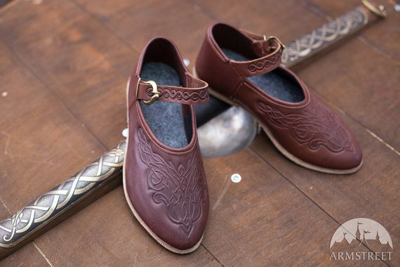 Medieval Womens Shoes with Strap and Embossed leather by armstreet