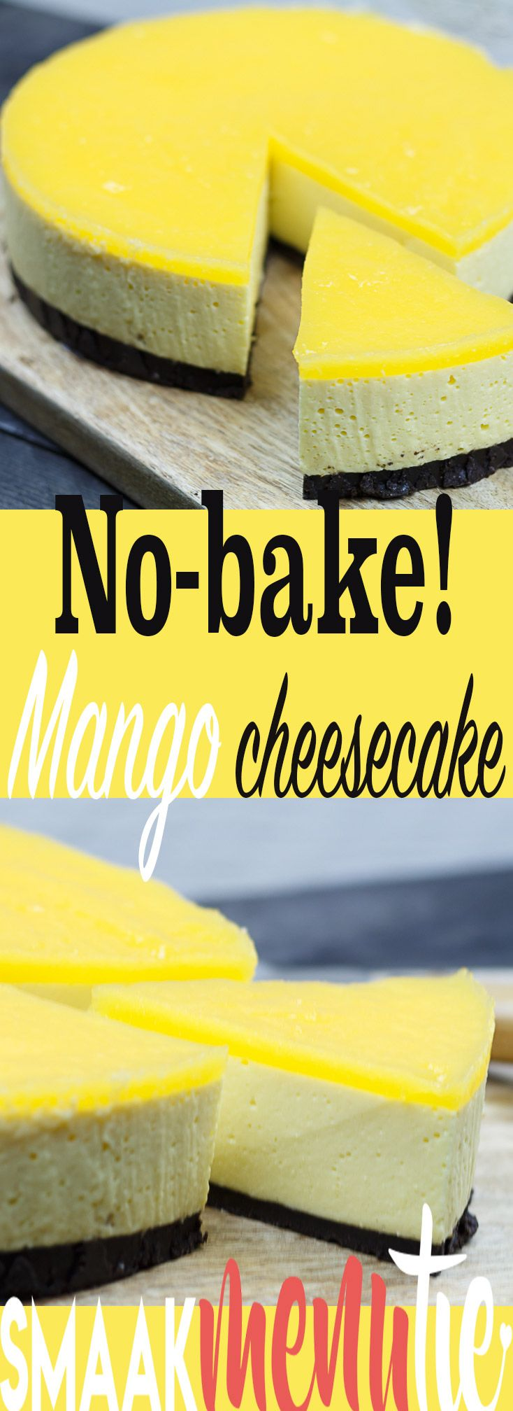 No-bake! Mango cheesecake #recept #recipe #nobake #cheesecake #mango #taart #cake