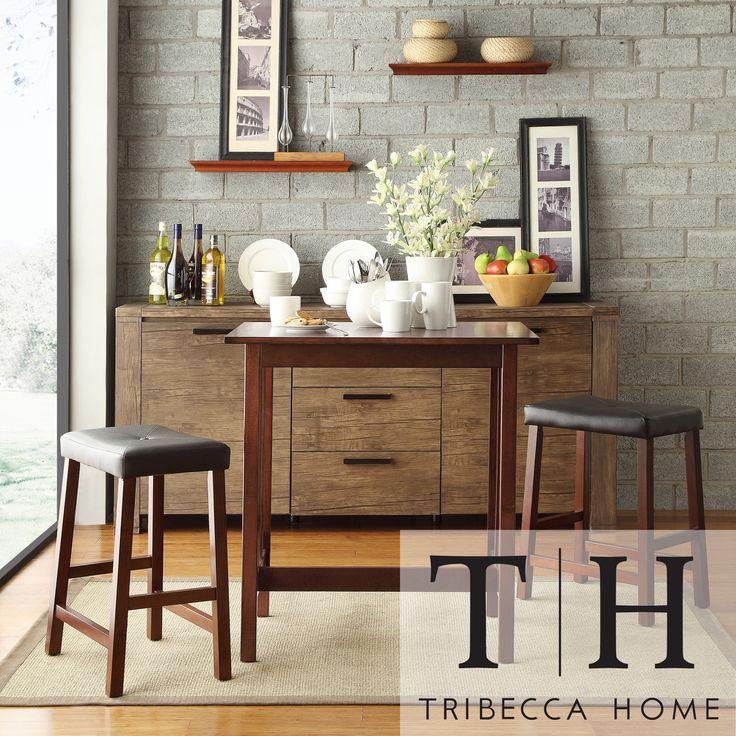 Tribecca Home Nova Cherry 3 Piece Counter Height Kitchen Dining Set By Tribecca Home