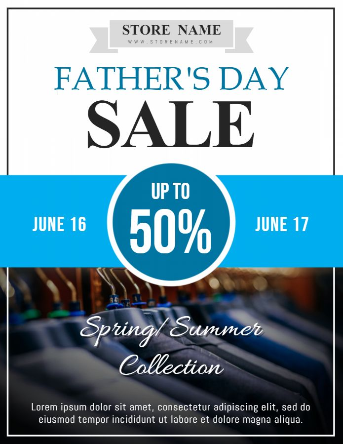 father s day sale advertisement poster template blue father s