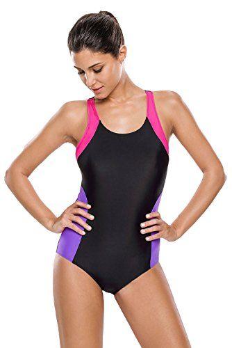 EOZY-Costume Da Bagno Colore Morbido Competizione Donna Busto 96-104cm Nero Viola