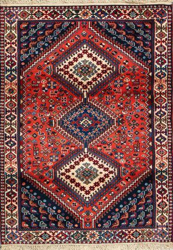 """Yalameh Persian Rug, Buy Handmade Yalameh Persian Rug 3' 5"""" x 4' 9"""", Authentic Persian Rug"""