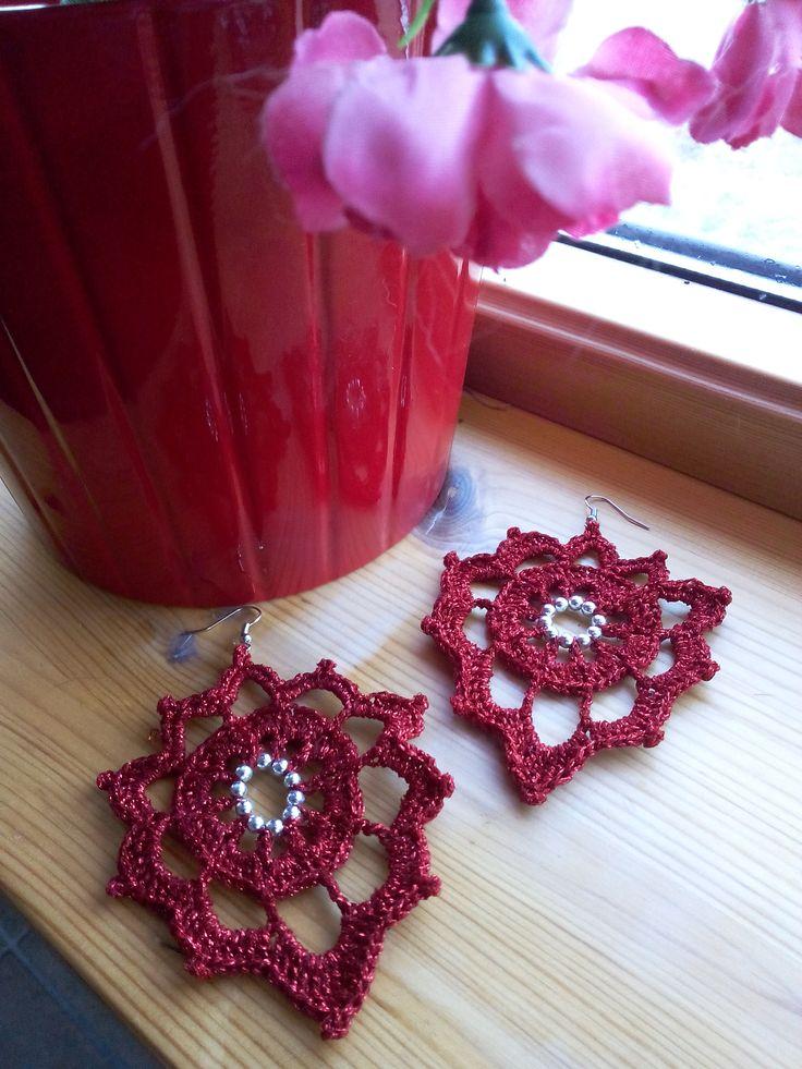 red shiny leaf earrings