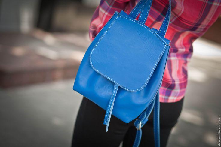 Купить Яркий молодежный синий рюкзак! Натуральная кожа - синий, яркий аксессуар, голубой рюкзак