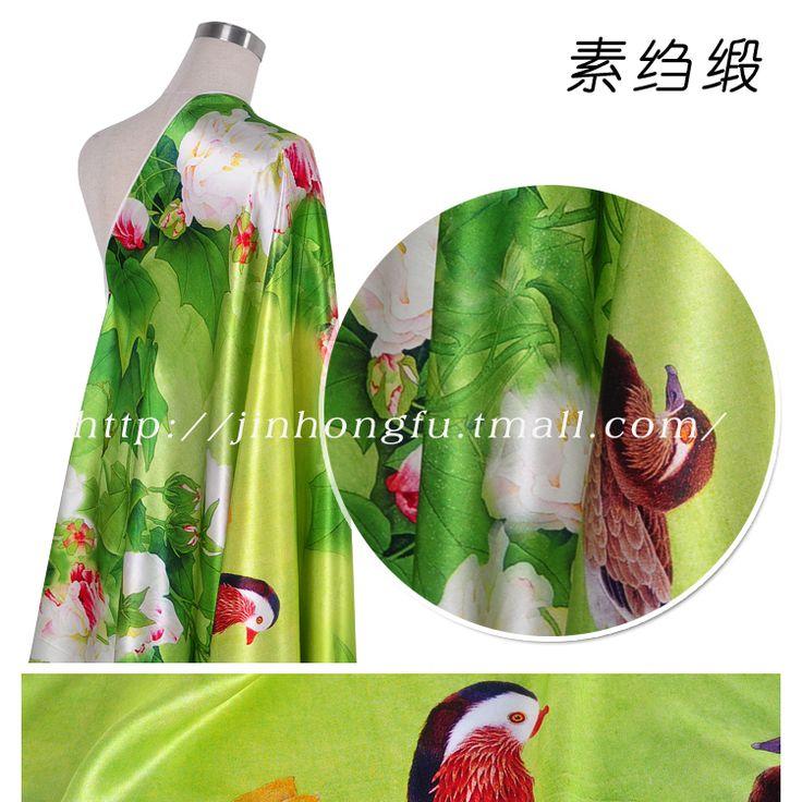 100% чистого шелка ткани из шелка qipao платье китайский ветер креп ткани сатинировки печать yuanyang бесплатная доставка купить на AliExpress
