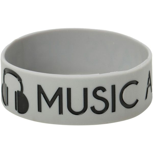 Music Always Helps Rubber Bracelet | Hot Topic ($5.20) ❤ liked on Polyvore featuring jewelry, bracelets, accessories, rubber bracelets, rubber bangles, grey jewelry and rubber jewelry