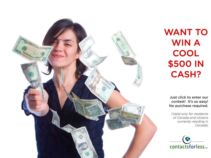 Want to #win a #free $500 in #cash?    Click to join our #contest at ContactsForLess.ca/contest!  No purchase required--it's so easy!  (Valid only for residents in Canada and citizens currently residing in Canada.)  #ContestAlert #giveaway
