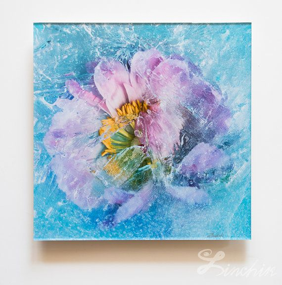 $325 - Blue Flowers Botanical Photography Home Decor Ready to Hang print on metallic paper mounted under acrylic glass