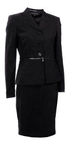 Anne Klein Women's Carnelian Textured Skirt Suit Onyx (8)