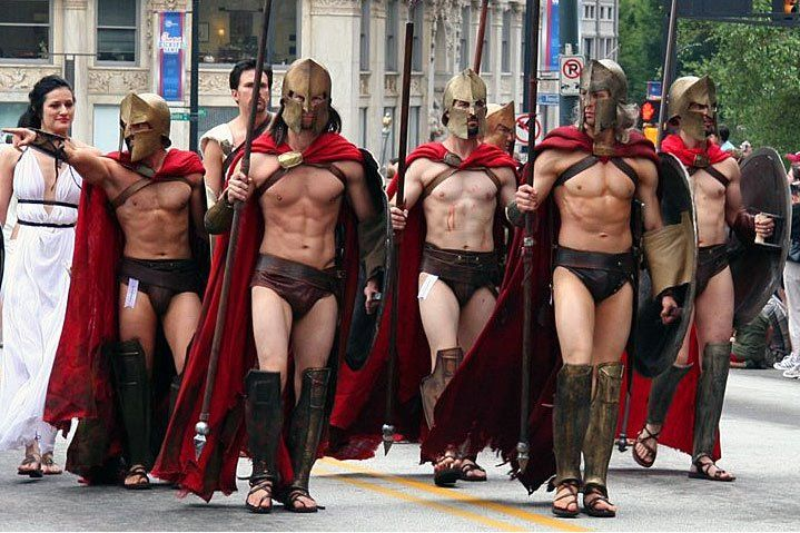meet the spartans fake abs costume