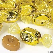 """Werther's Original....favorites! These remind me of my Great-Papaw...when I was a little girl we'd walk down to his house and he's always pull a candy from somewhere for me to have. :) to this day they still make me smile and say """"yum""""! :)"""