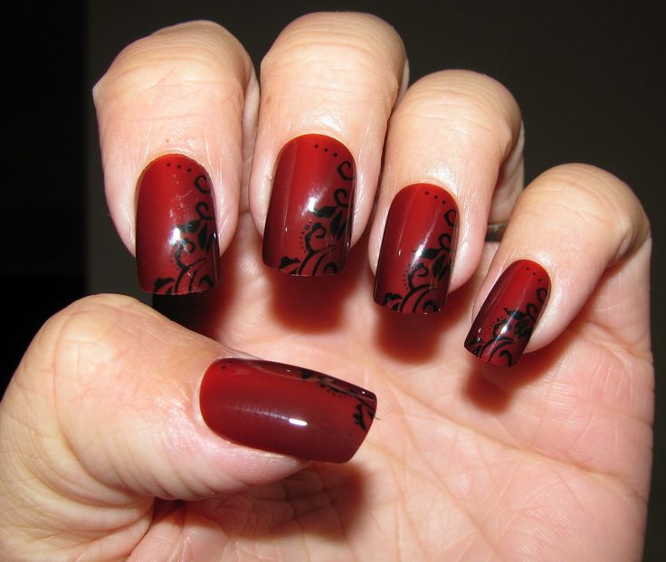 black and red Nails design for my upcoming wedding