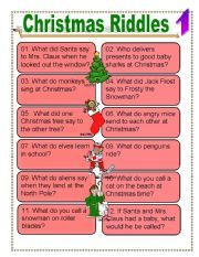 English worksheet: Christmas riddles for Everyone