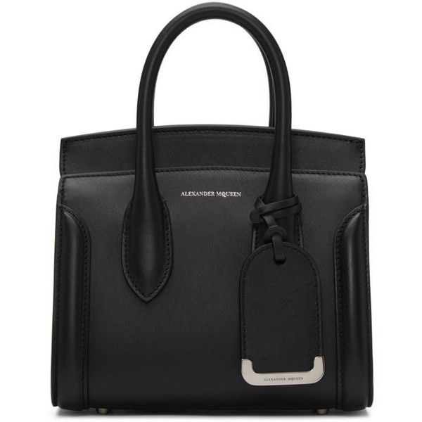Alexander McQueen Black Mini Heroine Tote ($2,075) ❤ liked on Polyvore featuring bags, handbags, tote bags, black, alexander mcqueen purse, clasp handbag, alexander mcqueen, alexander mcqueen handbags and handbag tote