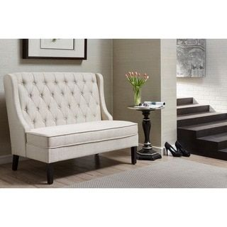 Ivory Tufted Upholstered Banquette Bench | Overstock.com Shopping - The Best Deals on Benches