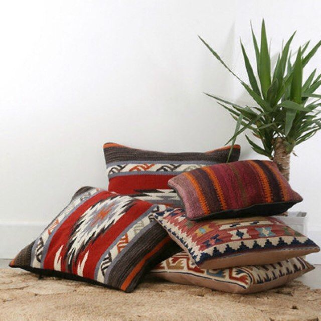 Kilim cushions are mostly rich colours, warm tones and beautiful ethnic motifs so perfect for the bohemian feel.. To find these on our website search 'kilim cushion' on dtll.com.au (link in profile) #turkish #cushion #ethnic #kilim