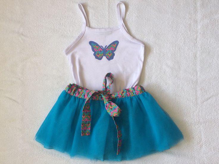 Conjunto Saia Tutu Azul com camiseta de Borboleta.godão  Tamanhos:  Tam. 2  Tam.4
