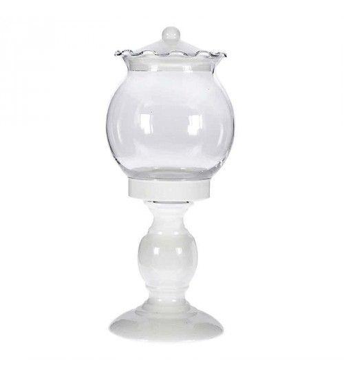 METAL_GLASS BOWL IN WHITE COLOR 12Χ12Χ27