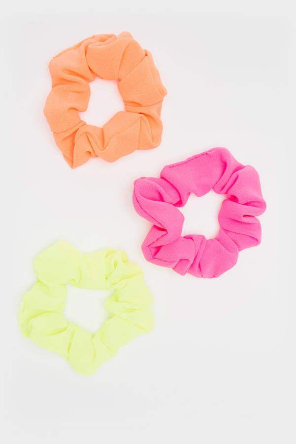 3 Pack Set Neon Green Orange Yellow Hair Band Elastic Scrunchie Ponytail Ties