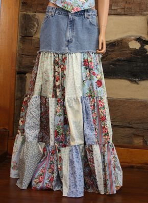 Festival de Upcycled Denim falda Patchwork falda larga bohemio