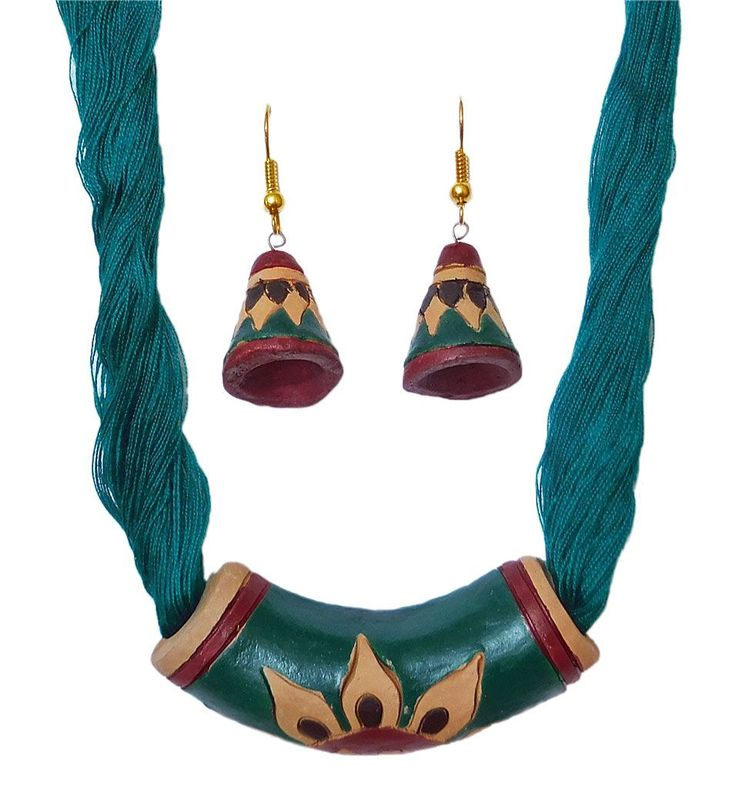 Cyan Blue Terracotta Pendant and Earrings (Terracotta)