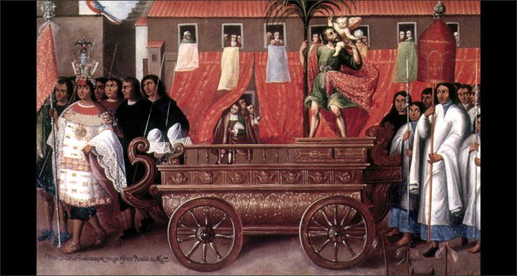 Corpus Christi Procession, Parish of San Cristóbal, ca. 1680. Museo de Arte Religioso, Cuzco, Peru. Photograph courtesy the Universidad Nacional Mayor de San Marcos. Brought to you by Vistas: Visual Culture in Spanish America, 1520-1820, a website devoted to the art history and painting of Latin America during the Spanish Colonial period.