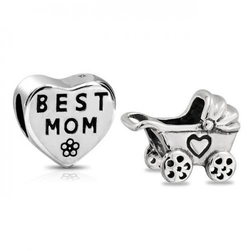 Bling Jewelry 925 Silver Best Mom Heart Baby Carriage Bead Set Fits Pandora