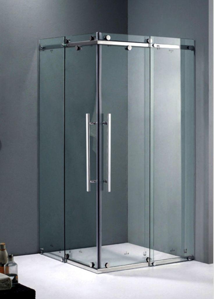Shower Screen, Frameless Sliding Corner Shower Screen With Base - (900mm x 900mm x 1990mm) - KLASSLIVING