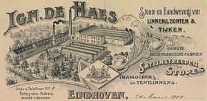 Katoenmaatschappij De Haes was gevestigd in Eindhoven, maar ook in Mierlo.
