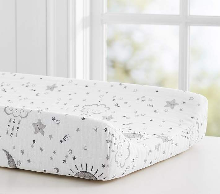 Pottery Barn Kids Skye Muslin Changing Pad Cover Linen