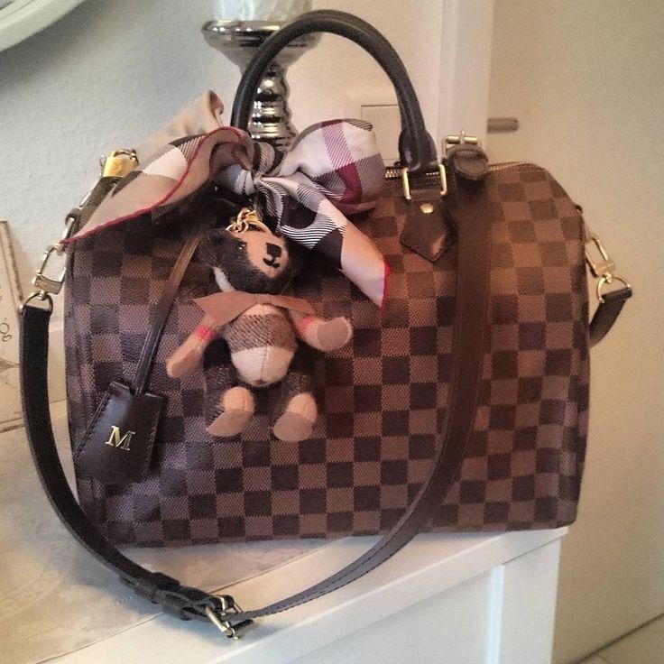 Louis Vuitton Speedy Bandouliere Damier Ebene, Clochette, Burberry Bear and Bow