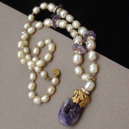 Miriam Haskell Amethyst & Pearl Vintage Necklace   eBay