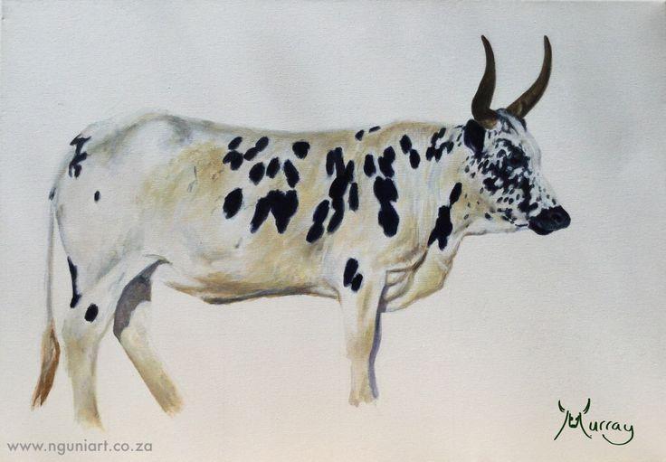 Nguni Bull Oil Painting  Size: A2 www.nguniart.co.za