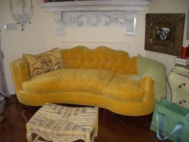 Yellow Velvet Sofa Bistro House Church Pinterest