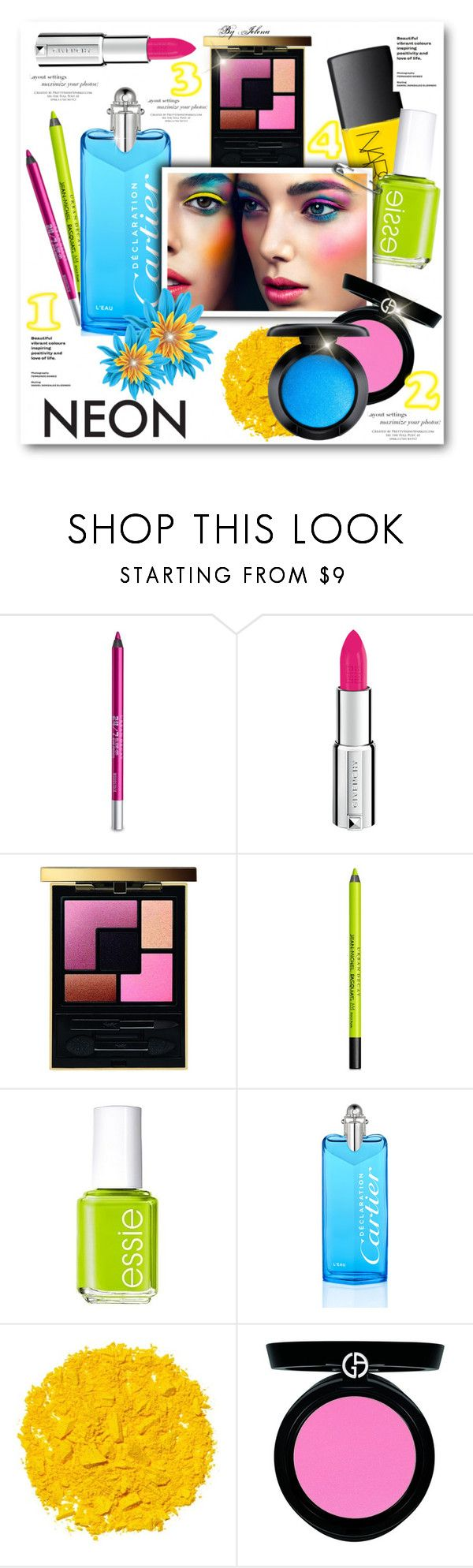 """Bright Eyes: Neon Beauty"" by jelenalazarevicpo ❤ liked on Polyvore featuring beauty, Urban Decay, Givenchy, Yves Saint Laurent, Essie, Cartier, Illamasqua, Armani Beauty and MAC Cosmetics"