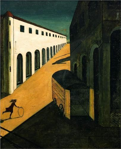 Artist: Giorgio de Chirico Completion Date: 1914 Place of Creation: Paris, France Style: Metaphysical art Genre: cityscape Technique: oil Material: canvas Dimensions: 124 x 99.5 cm Gallery: Private Collection