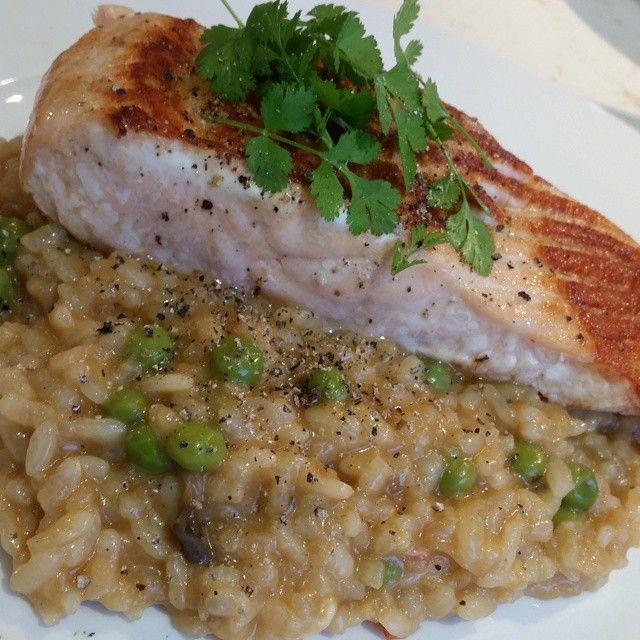 Tamari Salmon with Pea and Mushroom Risotto