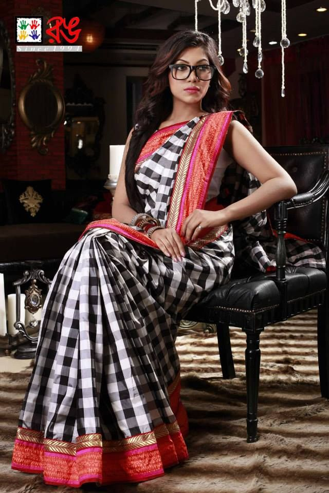 Cotton silk saree. Checks design with silk border. Indian fashion.