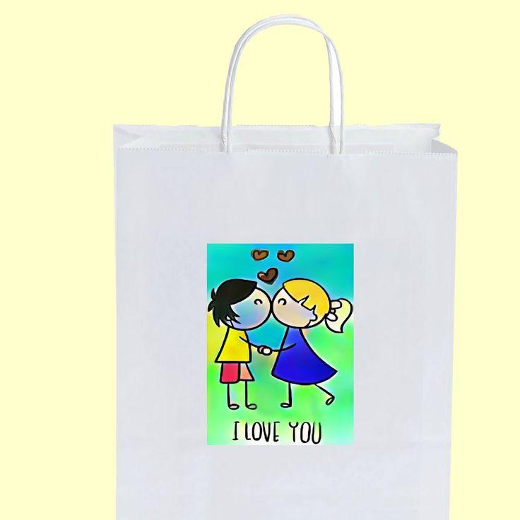 50 Wedding Bag bags WB18824ILOVEYOU1 segnaposto buste matrimonio cm.18 + omaggi