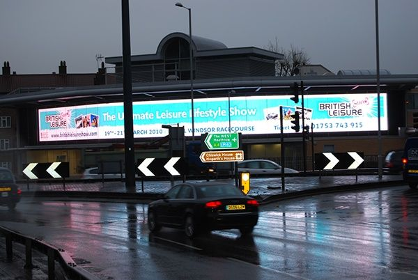 Hogarth roundabout, London. Large format outdoor advertising by Design Eleven for the British Leisure Show. View portfolio at: www.designeleven.co.uk