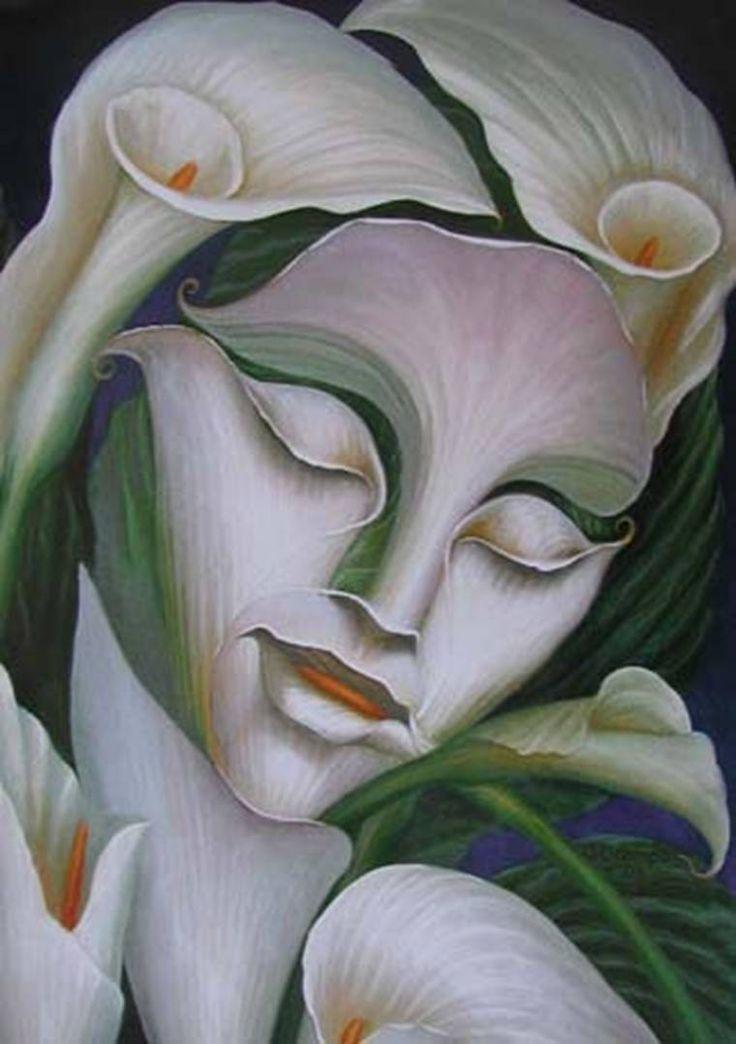 Octavio Ocampo - Lady Flower- 8x10 - Mexican Art