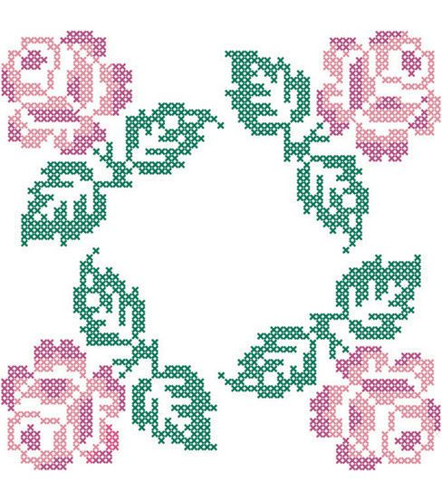 Stamped Quilt Cotton Block Fabric-18'' X 18'' Roses in 4 Corners Design