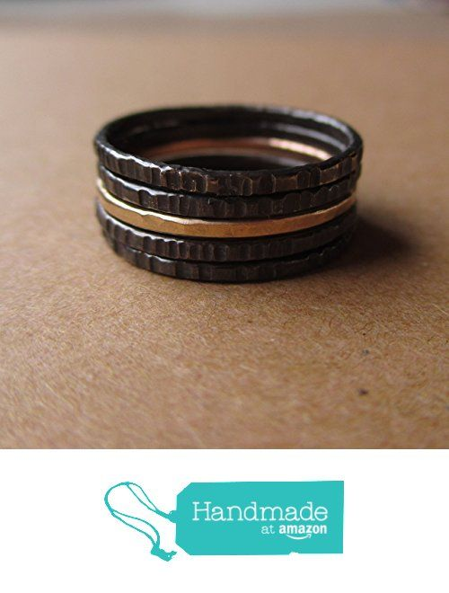 Skinny Stacking Ring Set. Sterling Silver and Gold-Fill. Handmade in Michigan. Black and Gold. from Lunasa Designs https://www.amazon.com/dp/B01ENQ163Q/ref=hnd_sw_r_pi_dp_aLP7xbWZ2JPC1 #handmadeatamazon