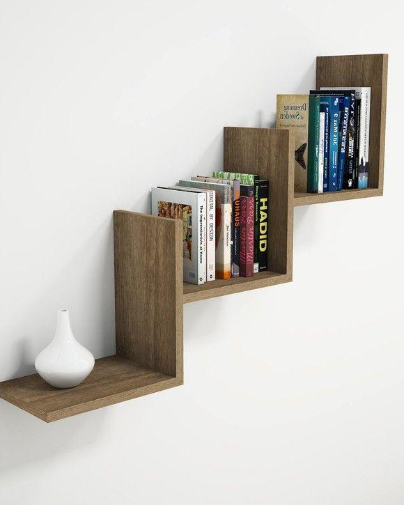 Wall Shelf Mist Walnut Wooden Art Bookshelves Diy Wall Shelves Design Bookshelf Design