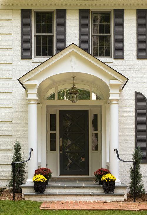 Off White Painted Brick And Trim Black Front Door And